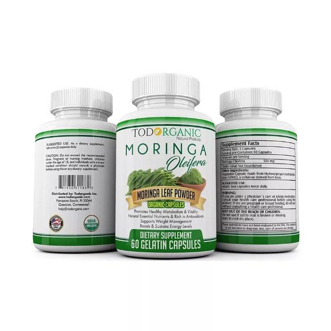 Cápsulas de Moringa Oleifera, Rico Antioxidante